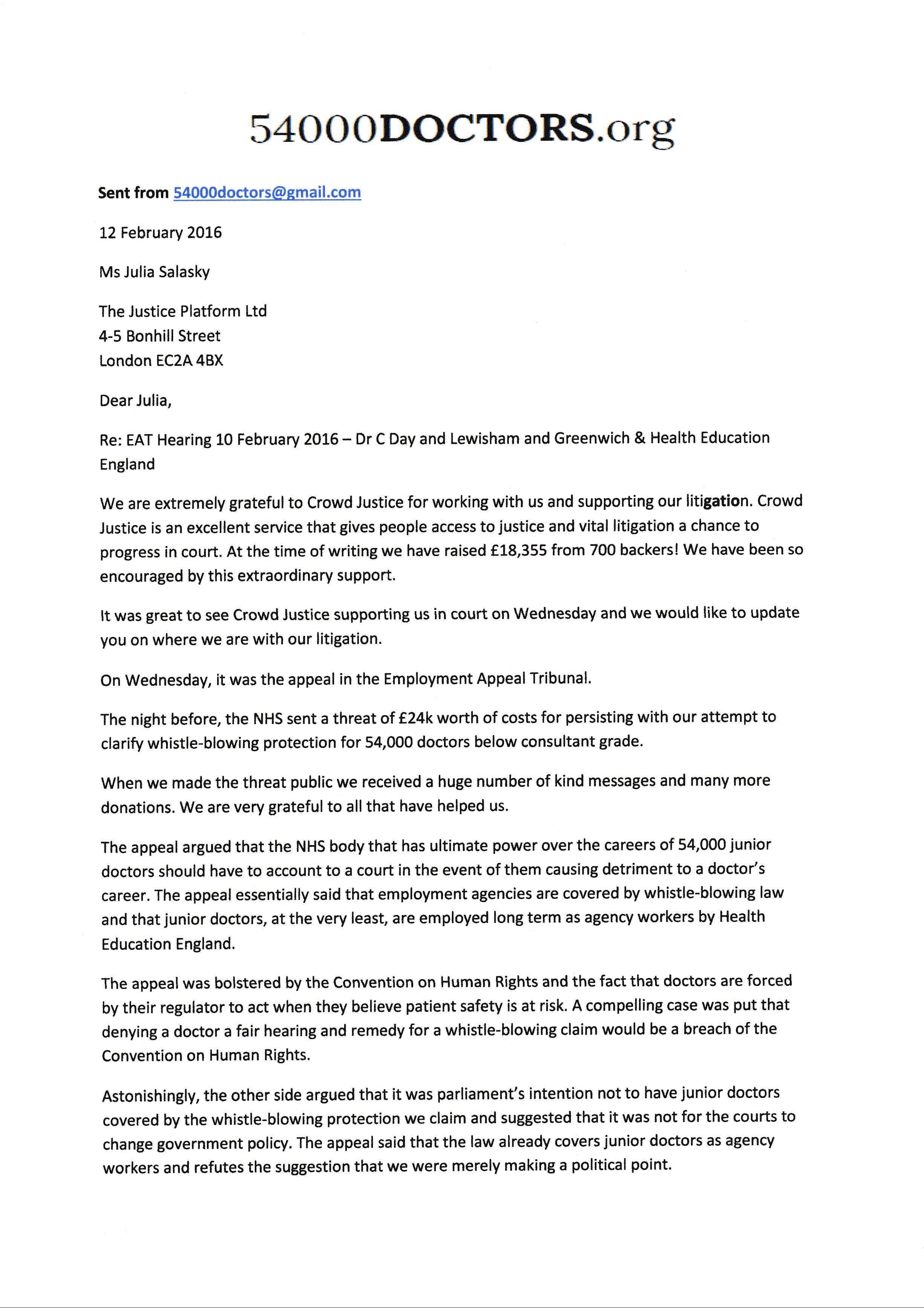 letter to crowd justice ceo update from eat hearing