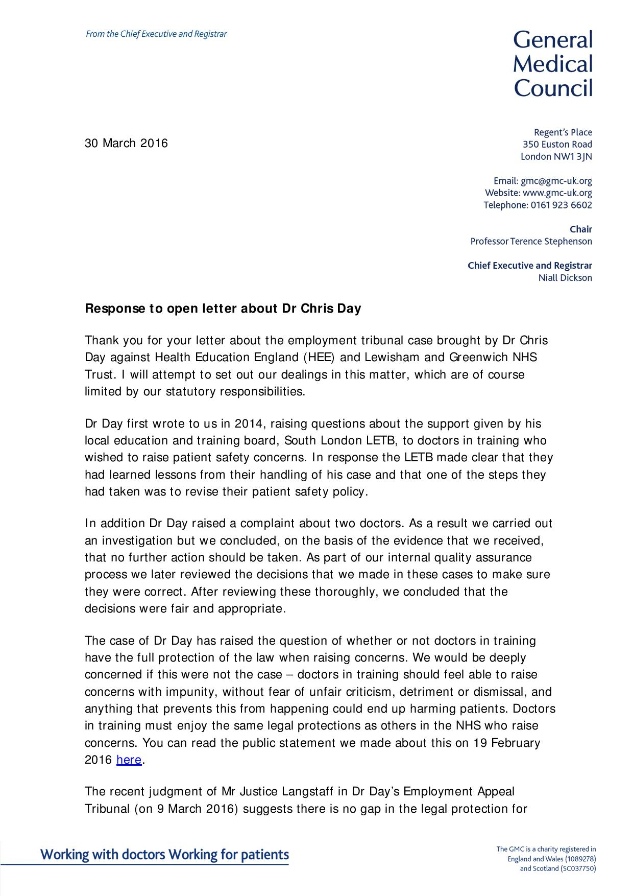 GMCs Proposed Response To Open Letter Dr Days Of Reply
