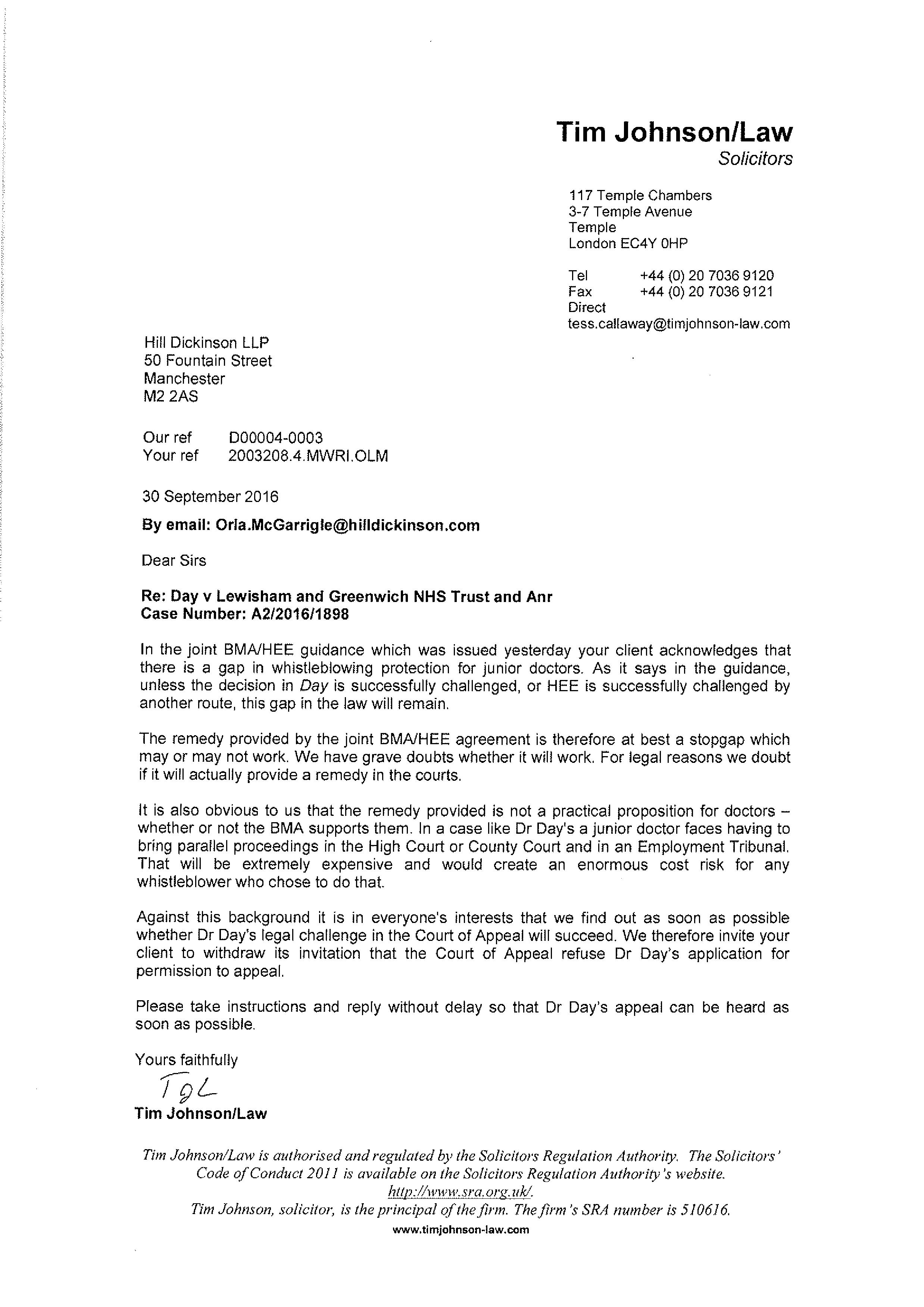 Appeal Letter Example