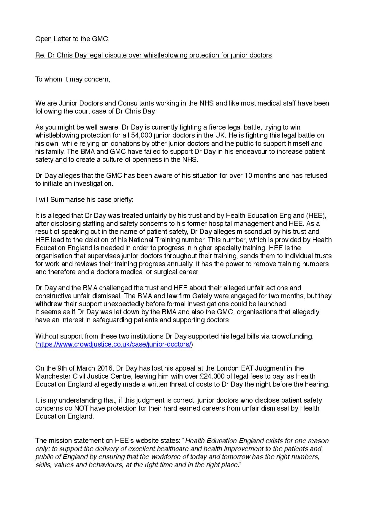 Letter to the GMC Signed by 1,000 Doctors