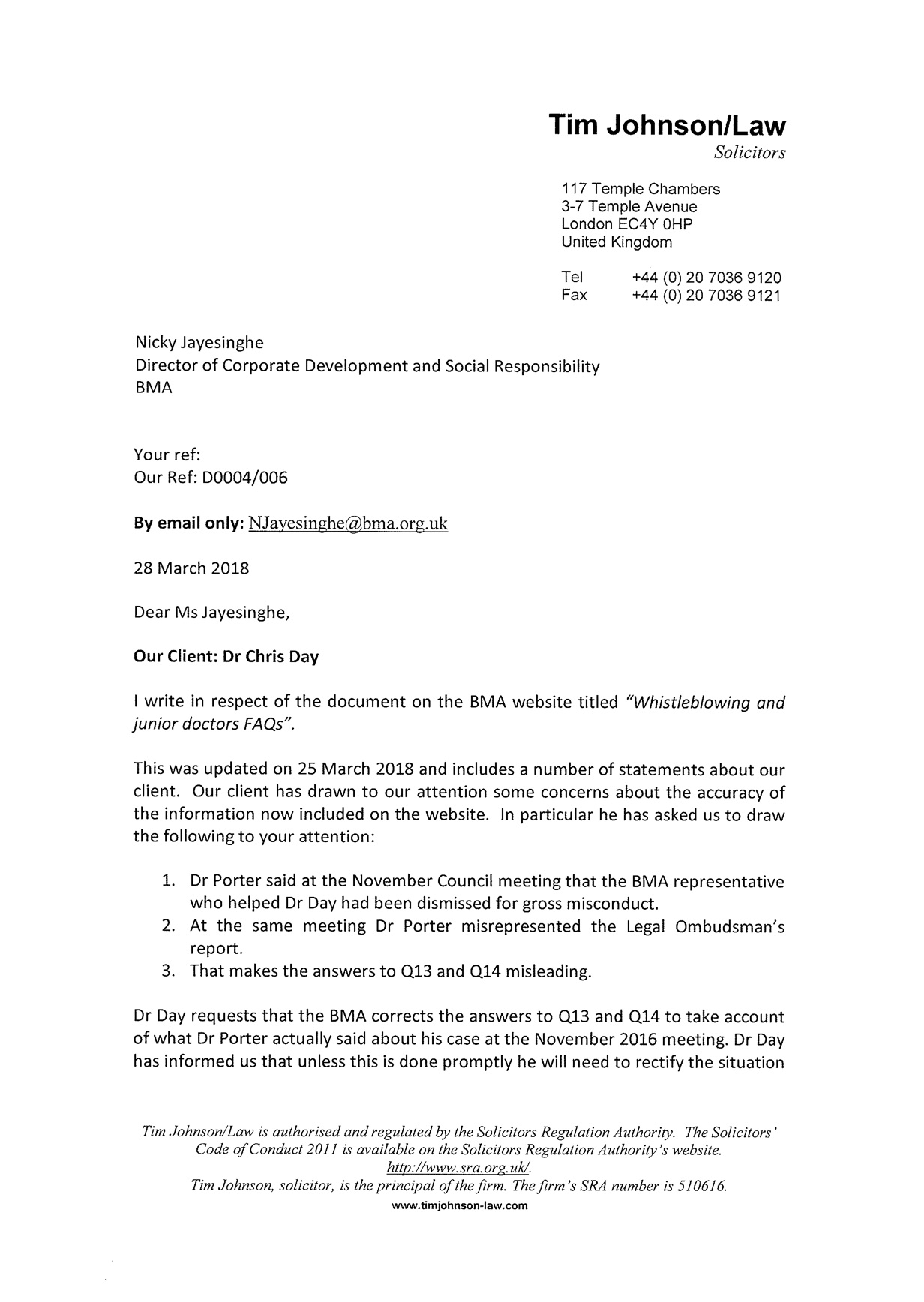 Legal Letter Challenging False Statements From The BMA About Dr Days Whistleblowing Case